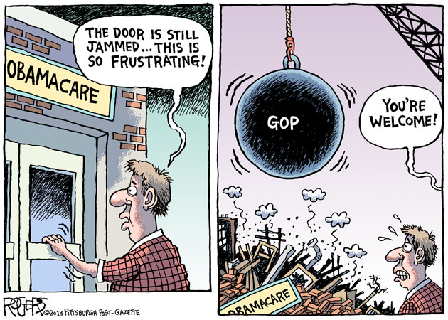 political cartoon showing GOP wrecking ball destroying Obamacare building with jammed door